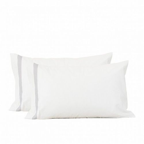 Bed Linen - Pillow Case - Set of 2 - White With Silver Grey